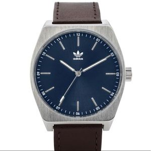 adidas process brown leather strap watch 38mm